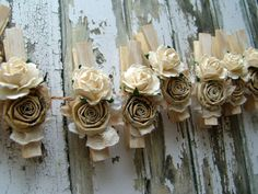 Shabby Chic Ivory decorative clothespins rustic by ilovethis, $18.00