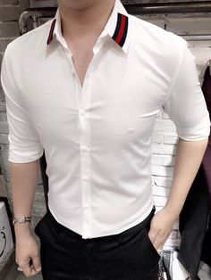 Designer Casual Shirts, Casual Shirts For Men, Plain Shirts, Cool Shirts, Formal Men Outfit, Tailored Fashion, White Shirt Men, Formal Shirts, Pants Pattern