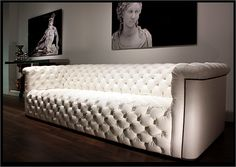 WHOA! Couture by Degenco  GIULIA TUFTED SOFA  The Giulia sofa is adorned with snowball tufting, a technique rarely seen today due to the large amount of skill and craftsmanship required.  Chairs, love seats, ottomans and benches are also available. All of them are crafted to order in Couture's workroom.    108w x 39d x 29h inches  Design: Luigi Gentile