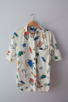 Vintage 80's Pop Art Top- i'd love this under a cardigan