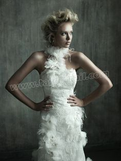 Tulle Fashion Forward Neckline Embroidered Bodice Column Wedding Dress