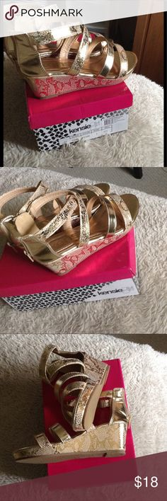 """👑So Sweet Gold Snakeskin Wedges👑 Kenzie girl, brand new with original box. Zipper in back for extra ankle support. 2"""" platform heel.  Bought these for my 8yo granddaughter ....but they are tagged as a size 2 BUT FIT LIKE A 1.5 Kenzie Girl Shoes"""