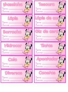 Atendendo a pedidos de leitoras, fiz etiquetas organizadoras de material escolar do Mickey e da Minie com lugar para colocar o nome da ...
