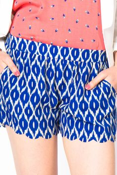 Ikat Scalloped Shorts. $30