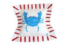 Nautical Crab Linen Pillow by Lemondaisy Design