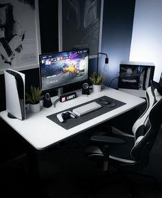 Computer Gaming Room, Computer Desk Setup, Gaming Room Setup, Pc Setup, Gamer Setup, Home Office Setup, Home Office Design, Attic Bedroom Designs, Video Game Rooms