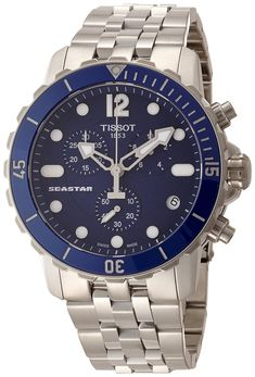 Tissot Seastar Automatic Chronograph Blue Dial Stainless Steel Mens Watch T0664171104700