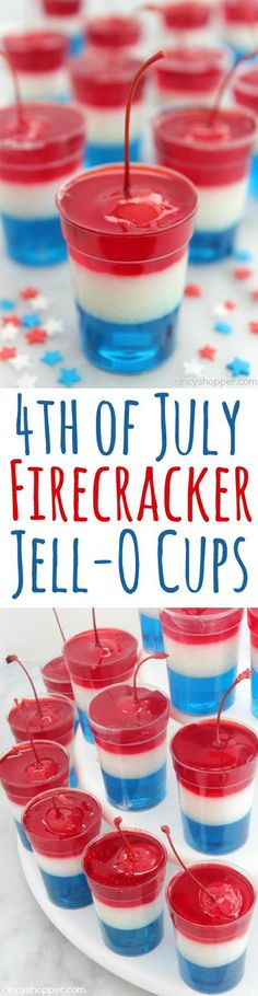 These Red, white, and blue 4th of July Firecracker Jell-O Cups will be the hit at your Independence Day celebrations. Super simple layers of Jell-O in small cups with a cherry on top to resemble a firecracker.