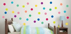 Our custom reusable fabric Confetti Polka Dot set will be a great addition to any kids room! Each set includes: 56 Brightly Colored Circles as shown in the picture ** Each circle is ** Like this style? Check out our confetti triangle set Owl Wall Decals, Childrens Wall Decals, Polka Dot Wall Decals, Polka Dot Walls, Polka Dots, Triangle Wall, Interior Design Business, Toy Rooms, Custom Wall