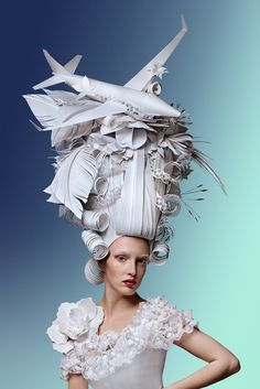 Russian paper artist Asya Kozina reimagines historical hairstyles from the era of 'more is more.'