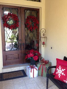 WRAP EMPTY BOXS TO LOOK FESTIVE...Front porch christmas decor