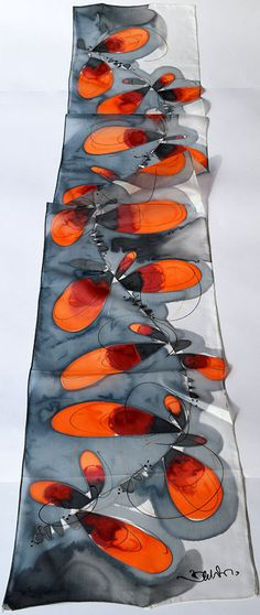 100% natural SILK, HANDMADE Dimensions: 30x160 cm 12x63 inch Hand wash with cold water and mild soap. Scarfs are packed in special and appropriate gift