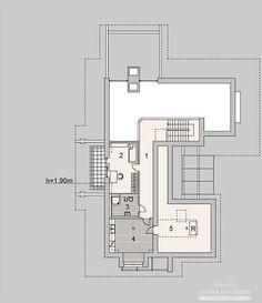 Projekty domów LK Projekt LK&1127    rzuty Poddasze Bungalow House Design, Floor Plans, Floor Plan Drawing