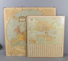 Bilder för 430318. SKOLKARTOR; 2 st, Europa samt Stockholm, tryckta vid Generalstabens litografiska anstalt. – Auctionet
