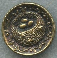 Antique Button 1800's Metal w Raised Image of Bird's Nest Eggs