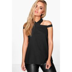 Boohoo Plus Plus Zoe Open Shoulder Halter Neck Woven Top ($26) ❤ liked on Polyvore featuring tops, black, high neck top, crop top, halter top, open shoulder top and layered tops