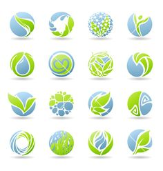 Drops and leaves - logo template set vector on VectorStock®