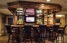 Contemporary Basement Bar Decorating Ideas With Wooden Home Bar Also Black  Leather Barstools And Black Pendant Lamp Featuring Hidden Ceiling Light  Ideas ...