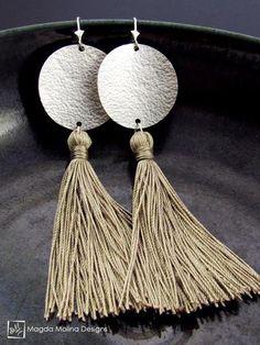 The Hammered Full Moon Silver Earrings With Handmade Silk Tassel
