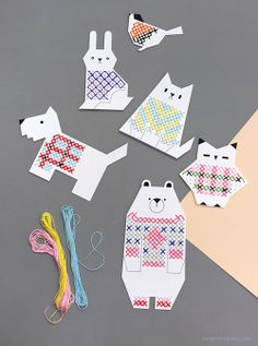 Animal Cross Stitch Cards with free printable files are for personal use only.