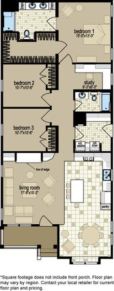 Unusual attention to detail and furniture arrangement in this plan. Ironically, it is a double-wide manufactured home