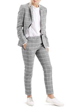 Topshop Check Slim Fit Blazer available at Blazer Pattern, Jacket Pattern, Grey Pattern, Slim Fit Jackets, Jackets For Women, Grey Check Suit, Summer Business Casual Outfits, Checked Suit, Gray Jacket