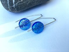 Modern translucent blue glass earrings, wedding bridesmaid jewelry, 925 sterling silver gift for her under 25, unique handmade jewelry gift ________________________  Dancin... #trending #etsy #etsymntt