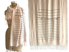 Library Book Scarf. Date Due Card linen-weave pashmina. Shown: Black on blush.  A favorite of librarians everywhere. Always punctual? Bring those