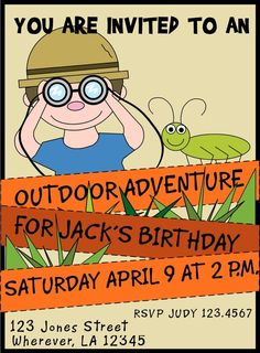 Outdoor Adventure/Jungle Birthday Invitations by letspartynola