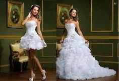 2014 white Strapless Organza wedding dresses Mini gown Pick up and Ruffles Detachable Skirt custom size
