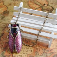 Retro 3d cicada necklace,shop at Costwe.com