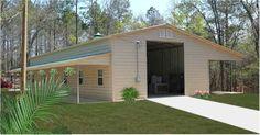 h RV garage with lean-to and wrap-around porch. Pole Barn House Plans, Pole Barn Homes, Pole Barns, Rv Garage Plans, Garage Ideas, Carport Ideas, Rv Shelter, Portable Carport, Rv Carports