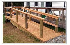 Diy Wooden Wheelchair Ramp - helping all customers get to your store Porch With Ramp, Access Ramp, Easy Access, Handicap Ramps, Ramp Design, Handicap Bathroom, Wheelchair Ramp, Home Porch, Outdoor Living