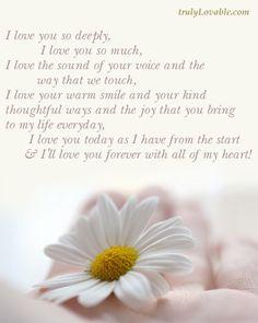 I love you so deeply...poem for wedding album