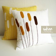 2 SET - Plant Linen Pillow Cover  - 16x16. $65.95, via Etsy.