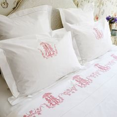 The Chinoiserie Bed Set is a simple white linen design, with the flat sheet bordered by an embroidered, traditional Chinoiserie motif of two figures standing under an umbrella, which also features in the centre of the two matching pillows. This bed set will give instant exotism and charm to your bedroom. Buy online now at http://www.belgraveplace.com/chinoiserie-bed-set.html