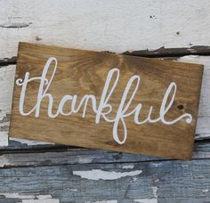 Thankful Hand painted Wooden Sign by Kicks Crafts on Etsy $28.00