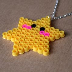 Cute Kawaii Star Pixel Hama Bead Necklace by RetroidStudio on Etsy