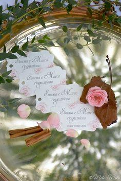 Etichette per bomboniere per le nozze di Simona e Marco - Mariage de Simona et…