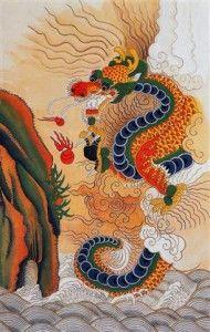 Jackie Kim's Korean Folk Art Min Hwa Dragon for Feng Shui