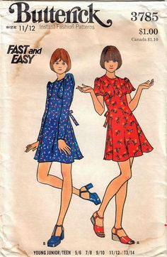 1970s Butterick 3785 Vintage Sewing Pattern Young Junior/Teen