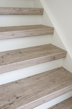 White- or cream-coloured risers Risers: white or cream House Stairs Cream creamcoloured risers White Wood Floor Stairs, Tile Stairs, Flooring For Stairs, Basement Stairs, Laminate Stairs, Hardwood Stairs, Redo Stairs, Vinyl Flooring, Staircase Makeover
