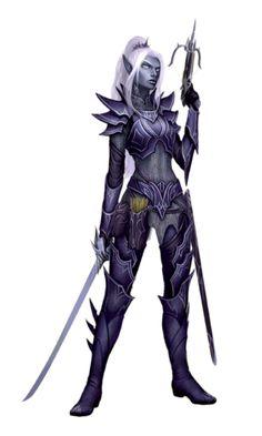 Female Noble Drow Ranger - Pathfinder PFRPG DND D&D 3.5 5th ed d20 fantasy