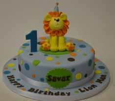 first birthday lion cake | Home > Cake Gallery > Baby > 1st Birthday Polka Dot Cake with Lion
