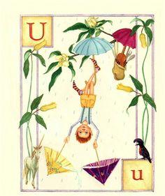 U...Upside down....Umbrella...Unicorn... by Lauren Mills Elfabet