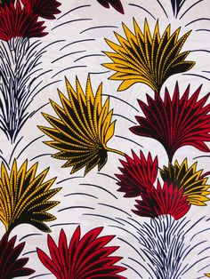 African print fabric by the yard Ankara fabric African Fabric African Supplies for dress skirt headtie white yellow and red flowers print