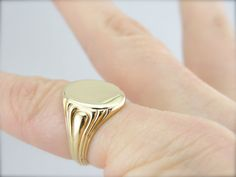 Vintage Signet Ring, Sized For Pinky Finger or Small Hand from marketsquarejewelers on Ruby Lane