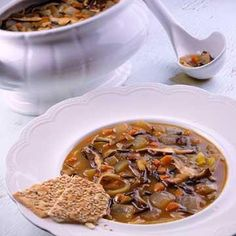 Onion and Mushroom Soup Recipe - This hearty soup combines the natural sweetness of caramelized onions with the nutlike flavor of wild rice or brown rice. --- http://www.diabeticlivingonline.com/recipe/soups/onion-and-mushroom-soup