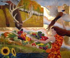 """""""Nature's Bounty"""" 60""""x 96"""" Oil on canvas."""