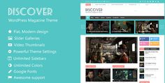 Discover - Flat WordPress Magazine Theme . Discover is a premium WordPress theme with flat and modern design. It is created for the magazines, news and blogs sites but due to its superb flexibility, it allows you to create the websites for any other purpose. It features very clean and responsive design, which looks very good on any
